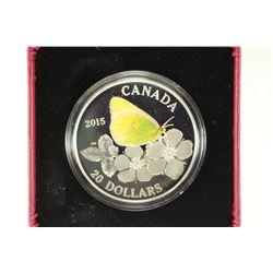 2015 CANADA $20 FINE SILVER COIN BUTTERFLIES OF