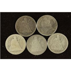 1882, 1886, 1887, 1888 & 1889 SEATED LIBERTY DIMES