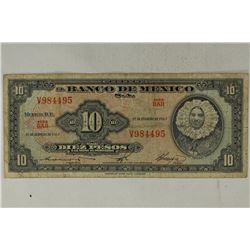 1965 BANK OF MEXICO 10 PESOS CURRENCY