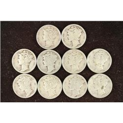 10 ASSORTED 1920'S, 30'S & 40'S DIMES
