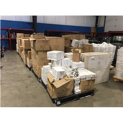 LARGE PALLET LOT (APPROX 12 PALLETS) OF ASSTD INDOOR LIGHTING FIXTURES RANGING FROM CHANDELIERS TO
