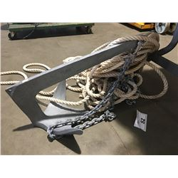 BOAT ANCHOR WITH ROPE & 10 X NAUTICAL CHARTS