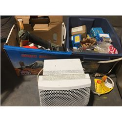 3 MANUAL STAPLERS, BOX OF ASSORTED STAPLES, BIN OF ASSORTED BOXES OF SCREWS, SMALL CERAMIC HEATER