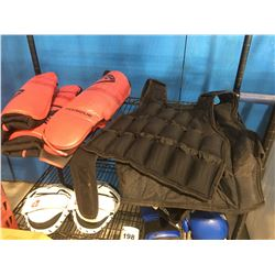 WEIGHTED WORKOUT VEST WITH REMOVABLE WEIGHTS, LEG GUARDS & ARM GUARDS