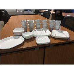 "GROUP LOT OF CORNINGWARE ""SPLENDOR"" DISHES (12 COFFEE MUGS, 6 SOUP BOWLS, 6 DESSERT BOWLS, 6 SIDE"