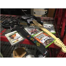FENDER STRATOCASTER & GUITAR HERO GUITARS WITH 4 XBOX 360 GAMES