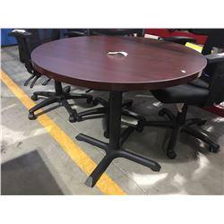 "35"" DIAMETER X 30.25""H OFFICE TABLE ON BLACK METAL BASE"