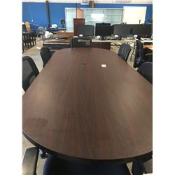 OVAL BOARDROOM TABLE (APPROX 10' X 4')