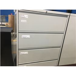 "4-DRAWER LATERAL GREY FILING CABINET (APPROX 3' X 18.5"" X 52.5"")"