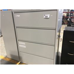 "4-DRAWER LATERAL GREY FILING CABINET (APPROX 3' X 18.5"" X 52.5"") (NOTE DRAWERS OPEN BUT KEY HAS"