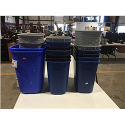 """GROUP LOT OF 16 WASTE BASKETS (APPROX 11.5"""" X 8"""" X 1') & 2 RECYCLE BINS (APPROX 15"""" X  11"""" X"""