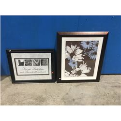 """GROUP OF 2 FRAMED PICTURES (""""LOVE LIVE WELL, LAUGH OFTEN, & LOVE WITH ALL YOUR HEART""""  23"""" X 19"""""""