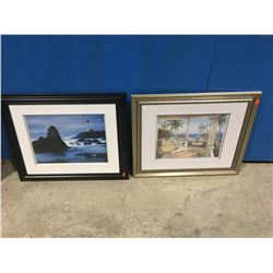 """GROUP OF 2 FRAMED PICTURES (LIGHTHOUSE SEASCAPE 23.5"""" X 19.5"""" & BEACH DECK VIEW PRINT IN SILVER"""