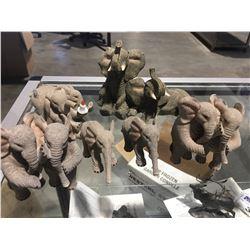 GROUP OF STONECAST ELEPHANT FIGURINES (6 PCE)