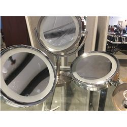 GROUP OF 3 LIGHTED VANITY MIRRORS (1 PEDESTAL & 2 WALL MOUNT)