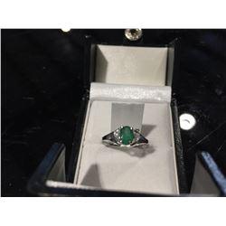 10K EMERALD (0.45CT) DIAMOND (0.04CT) RING