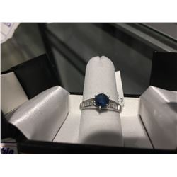 SILVER BLUE SAPPHIRE (0.75CT) RING SIZE 6