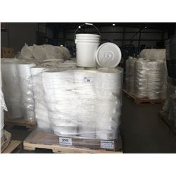 PALLET LOT OF BULK FOOD GRADE STORAGE BUCKETS WITH LIDS (PALLETS RANGE FROM APPROX 60 - 75 UNITS