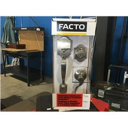 FACTO ENTRANCE HANDLESET WITH SINGLE CYLINDER DEADBOLT, SHELBY SERIES, WEISER KEYWAY SYSTEM, SATIN