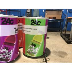 CAN COOLER - ELECTRIC (APPROX 2' DIAMETER X 3' H) LOGO CAN BE REMOVED - EASY ROLL CASTERS