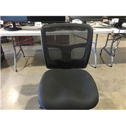 ULINE LORELL ERGOMESH SERIES MANAGERIAL MID-BACK CHAIR - BLACK FABRIC SEAT, BLACK BACK & FRAME,