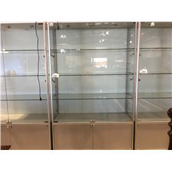 """HALOGEN LIGHTED 4-SHELF LOCKABLE DISPLAY CABINET WITH LOCKABLE STORAGE AT BOTTOM (APPROX 47.25""""W X"""