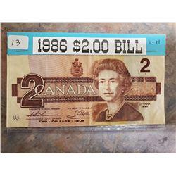 1986 2 DOLLAR BILL