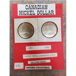 1980 & 1982 CANADIAN NICKEL DOLLAR