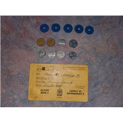 WW2 PERIOD NICKELS, RATION BOOK, & TOKENS