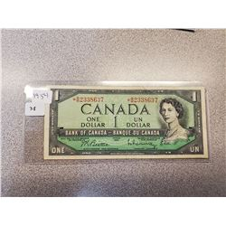 1954 BANK OF CANADA ONE DOLLAR BILL