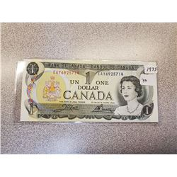 1973 BANK OF CANADA ONE DOLLAR BILL
