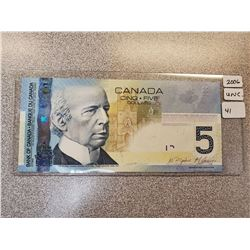 2006 BANK OF CANADA FIVE DOLLAR BILL