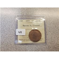 1859 CANADIAN LARGE CENT N9 ICCS AU-50