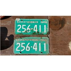 TWO 1969 LICENSE PLATES