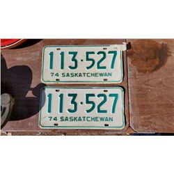 TWO 1974 LICENSE PLATES