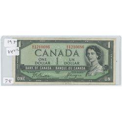 1954 CANADIAN 1 DOLLAR BILL DEVIL