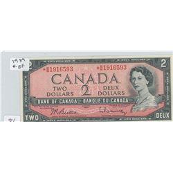 1954 CANADIAN 2 DOLLAR BILL