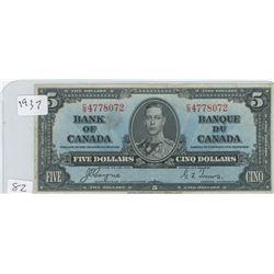 1937 CANADIAN 5 DOLLAR BILL