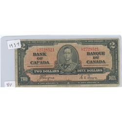 1937 CANADIAN 2 DOLLAR BILL