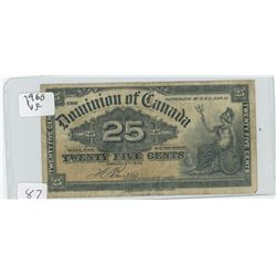 1900 CANADIAN TWENTY-FIVE CENT SHIN PLASTER