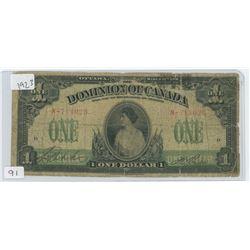 1923 CANADIAN 1 DOLLAR BILL