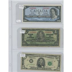 1954 CANADIAN 5 DOLLAR BILL 1937 CANADIAN 1 DOLLAR BILL 1969 AMERICAN 5 DOLLAR BILL