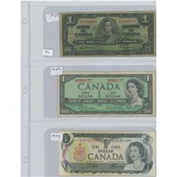 1937,1954,1973 CANADIAN 1 DOLLAR BILL