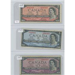 1954 CANADIAN 2 DOLLAR BILL, 1954 CANADIAN 5 DOLLAR BILL, 1954 CANADIAN 10 DOLLAR BILL