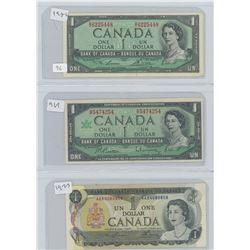 1954, 1967 & 1973 CANADIAN 1 DOLLAR BILLS