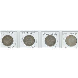 1900,1904,1909,1911 NEWFOUNDLAND 50 CENT PIECES