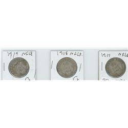 1917,1918,1919 NEWFOUNDLAND 50 CENT PIECES