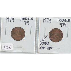 1979 CANADIAN PENNY DOUBLE 79 1979 CANADIAN PENNY DOUBLE 979 DOUBLE LEAF TIPS