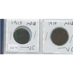 1913 AND 1917 NEWFOUNDLAND PENNIES