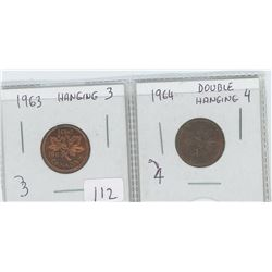 1963 CANADIAN PENNY HANGING 3 1964 PENNY DOUBLE HANGING 4